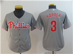 Philadelphia Phillies #3 Bryce Harper Youth Gray Cool Base Jersey