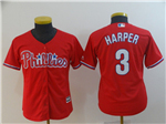 Philadelphia Phillies #3 Bryce Harper Youth Red Cool Base Jersey