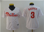 Philadelphia Phillies #3 Bryce Harper Youth White Pinstripe Cool Base Jersey