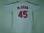 Philadelphia Phillies #45 Tug McGraw 1976 Throwback White Pinstripe Jersey