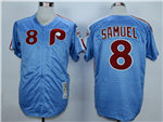 Philadelphia Phillies #8 Juan Samuel 1983 Throwback Light Blue Jersey