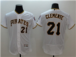 Pittsburgh Pirates #21 Roberto Clemente White Flex Base Jersey