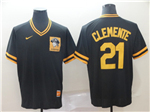 Pittsburgh Pirates #21 Roberto Clemente Throwback Black Jersey