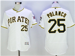 Pittsburgh Pirates #25 Gregory Polanco White Flex Base Jersey