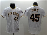 Pittsburgh Pirates #45 Gerrit Cole White Flex Base Jersey