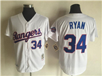 Texas Rangers #34 Nolan Ryan 1993 Throwback White Jersey