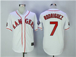 Texas Rangers #7 Iván Rodríguez 1995 Throwback White Jersey