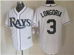 Tampa Bay Rays #3 Evan Longoria White Cool Base Jersey