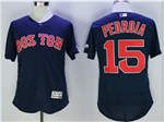 Boston Red Sox #15 Dustin Pedroia Navy Flex Base Jersey
