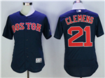 Boston Red Sox #21 Roger Clemens Navy Flex Base Jersey