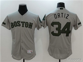 Boston Red Sox #34 David Ortiz Gray 2017 Memorial Day Flex Base Jersey