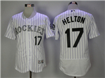 Colorado Rockies #17 Todd Helton White Pinstripe Flex Base Jersey