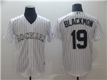 Colorado Rockies #19 Charlie Blackmon White Pinstripe Cool Base Jersey