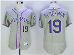 Colorado Rockies #19 Charlie Blackmon Grey Flex Base Jersey