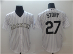Colorado Rockies #27 Trevor Story White Pinstripe Cool Base Jersey