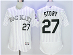 Colorado Rockies #27 Trevor Story White Pinstripe Flex Base Jersey