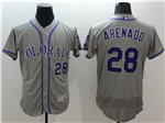 Colorado Rockies #28 Nolan Arenado Grey Flex Base Jersey