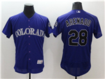 Colorado Rockies #28 Nolan Arenado Purple Flex Base Jersey