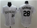 Colorado Rockies #28 Nolan Arenado White Pinstripe Flex Base Jersey