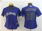 Colorado Rockies #28 Nolan Arenado Women's Purple Cool Base Jersey
