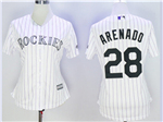 Colorado Rockies #28 Nolan Arenado Women's White Pinstripe Cool Base Jersey