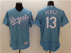 Kansas City Royals #13 Salvador Pérez Light Blue Flex Base Jersey