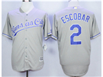 Kansas City Royals #2 Alcides Escobar Gray Cool Base Jersey