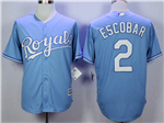 Kansas City Royals #2 Alcides Escobar Light Blue Cool Base Jersey
