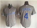 Kansas City Royals #4 Alex Gordon Gray Cool Base Jersey
