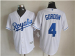 Kansas City Royals #4 Alex Gordon White Cool Base Jersey