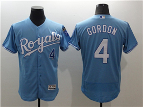 Kansas City Royals #4 Alex Gordon Light Blue Flex Base Jersey