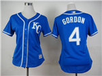 Kansas City Royals #4 Alex Gordon Women's Alternate Royal Blue Cool Base Jersey