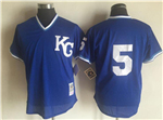 Kansas City Royals #5 George Brett Throwback Royal 1989 Cooperstown Batting Mesh Practice Jersey