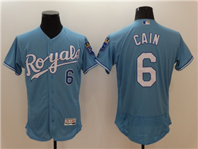 Kansas City Royals #6 Lorenzo Cain Light Blue Flex Base Jersey
