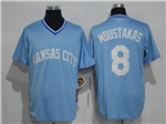Kansas City Royals #8 Mike Moustakas Ligh Blue Cooperstown Cool Base Jersey