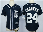 Detroit Tigers #24 Miguel Cabrera Youth Navy Cool Base Jersey