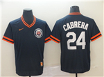 Detroit Tigers #24 Miguel Cabrera Navy Throwback Jersey