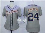 Detroit Tigers #24 Miguel Cabrera Women's Gray Cool Base Jersey