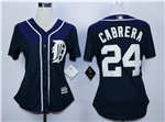 Detroit Tigers #24 Miguel Cabrera Women's Navy Cool Base Jersey