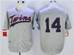 Minnesota Twins #14 Kent Hrbek 1969 Throwback Grey Jersey
