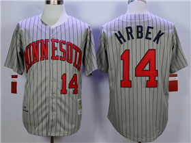 Minnesota Twins #14 Kent Hrbek 1987 Throwback Grey Pinstripe Jersey