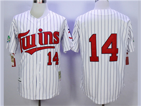 Minnesota Twins #14 Kent Hrbek 1991 Throwback White Pinstripe Jersey