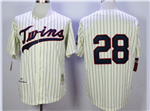 Minnesota Twins #28 Bert Blyleven 1970 Throwback Cream Pinstripe Jersey