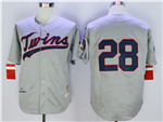 Minnesota Twins #28 Bert Blyleven 1969 Throwback Grey Jersey