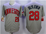 Minnesota Twins #28 Bert Blyleven 1987 Throwback Grey Pinstripe Jersey