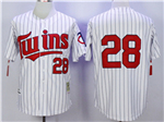 Minnesota Twins #28 Bert Blyleven 1991 Throwback White Pinstripe Jersey