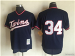 Minnesota Twins #34 Kirby Puckett Navy 1985 Cooperstown Mesh Batting Practice Jersey