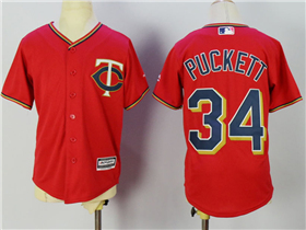 Minnesota Twins #34 Kirby Puckett Youth Red Cool Base Jersey