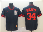 Minnesota Twins #34 Kirby Puckett Navy Throwback Jersey