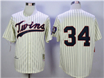 Minnesota Twins #34 Kirby Puckett 1969 Throwback Cream Pinstripe Jersey